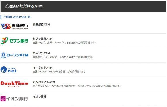 青森銀行カードローン 返済 ATM