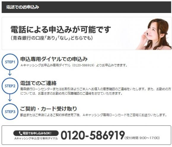 青森銀行カードローン 電話申し込み