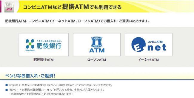 肥後銀行カードローン ATM情報